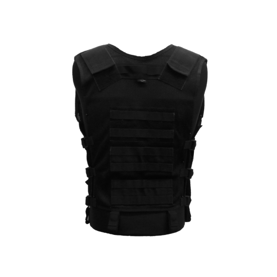 Multi-pocket tactical vest with zipper and MOLLE system (back)