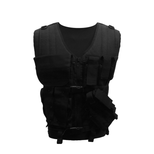Multi-pocket tactical vest with zipper and MOLLE system