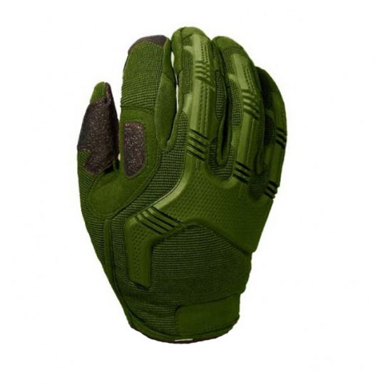 Tactical gloves for airsoft with knuckle protection color green