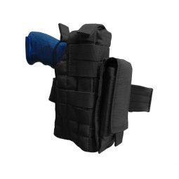 Universal holster with belt adjustment and MOLLE system color black
