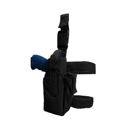 Universal thigh holster with belt adjustment and MOLLE system color black