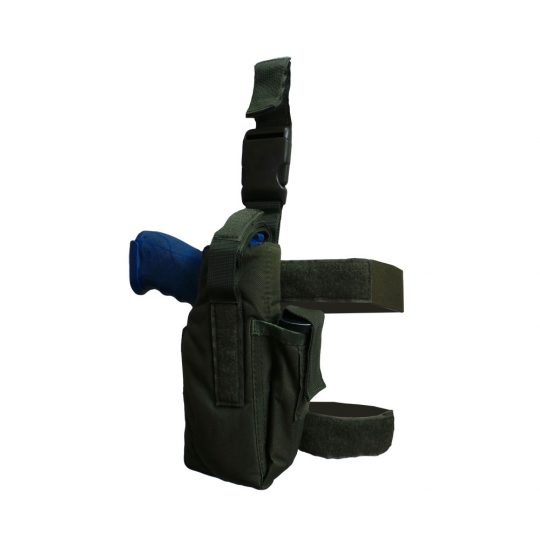 Universal thigh holster with belt adjustment and MOLLE system color green